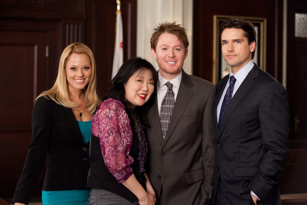 From left, Kate Levering, Margaret Cho, Clay Aiken and Jackson Hurst in an all-new episode of Drop Dead Diva, airing Sunday, July 24, at 9 p.m. ET/PT on Lifetime Television.  Photo by Bob Mahoney/Courtesy of Lifetime Television.