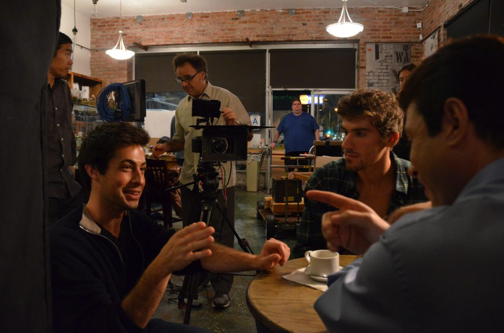 From left Director Max Gold Ben Palacios and John Fantasia on the set of Step One