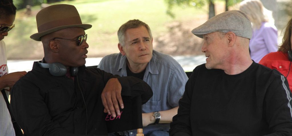 From Left, Director Kenny Leon with Executive Producers Craig Zadan and Neil Meron behind the scenes on the all-new Lifetime Original Movie, Steel Magnolias. Photo by Eric Liebowitz. Copyright 2011.