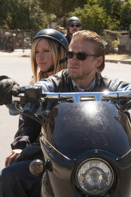 "Ashley Tisdale (left) as Emma Jean and Charlie Hunnam as Jackson 'Jax' Teller on ""Sons of Anarchy"" - Photo by Prashant Gupta/FX."