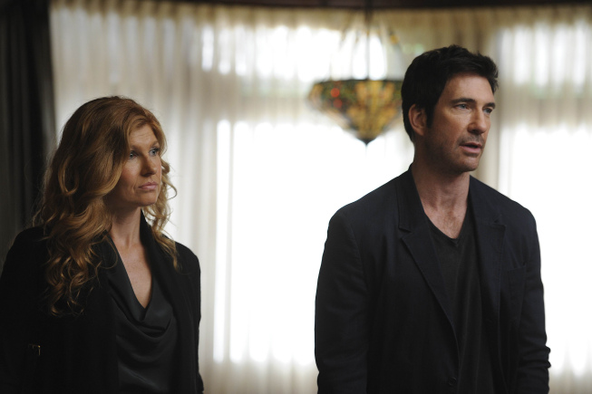 "Dylan McDermott (left) and Connie Britton star in the first season of the FX original series ""American Horror Story."" Photo by Prashant Gupta / FX."