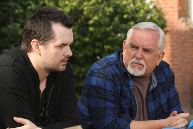 Jim Jefferies (left) as Jim and John Ratzenberger as Walter. Photo by Patrick McElhenney/FX.