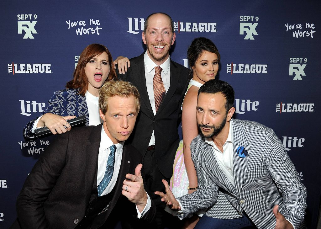 Chris Geere, Aya Cash, Kether Donohue, Desmin Borges, and Creator/Executive Producer Stephen Falk arrive at the red carpet premiere of FXX's 'The League' and 'You're the Worst' at the Bruin Theatre on September 8, 2015 in Los Angeles, California. Photo by Frank Micelotta/FX.