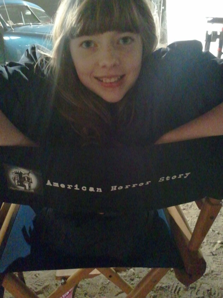 Actress Chelsey Valentine on the set of American Horror Story: Asylum.""